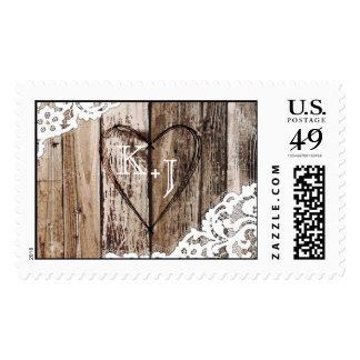 Country Western Wood Lace Rustic Wedding Postage Stamp