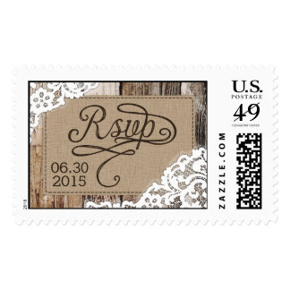 Country Western Wood Lace Rustic Wedding RSVP Stamp