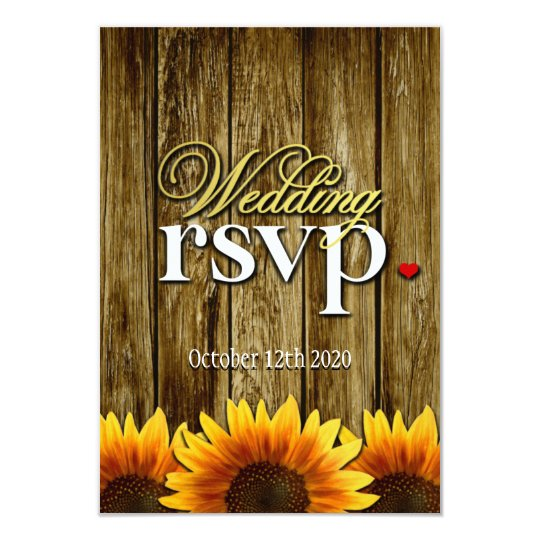 Country Western Wood Sunflower Wedding RSVP Cards