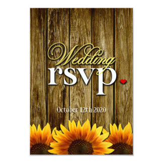 """Country Western Wood Sunflower Wedding RSVP Cards 3.5"""" X 5"""" Invitation Card"""