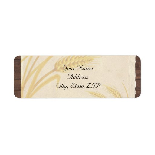 Country Wheat Grass on Parchment Custom Return Address Labels