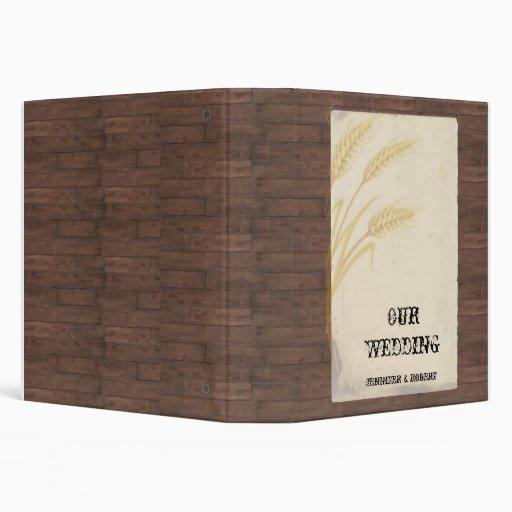 Country Wheat Grass on Parchment Wedding Album Vinyl Binders