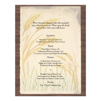 """Country Wheat Grass on Parchment Wedding Menu 8.5"""" X 11"""" Flyer"""