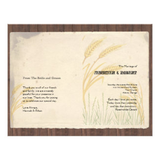 """Country Wheat Grass on Parchment Wedding Program 8.5"""" X 11"""" Flyer"""