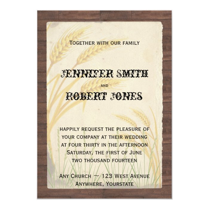 Country Wheat Grass Parchment Wedding Invitations