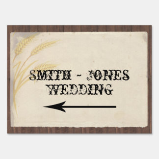 Country Wheat Grass Wedding Direction Sign
