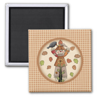 Country Whimsy Autumn Scarecrow with Leaves Magnet