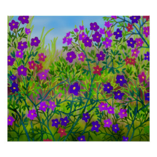 Country Wildflowers Poster
