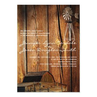 Country Windmill Barn Wood Wedding Invitations