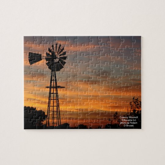Country Windmill Silhouette Puzzle