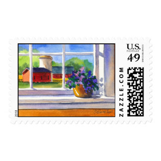Country Window Postage Stamp