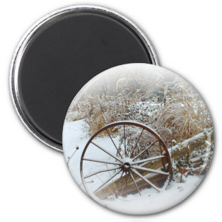 Country Winter 2 Inch Round Magnet