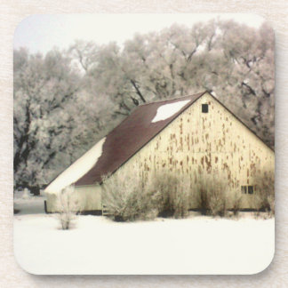 Country Winter Barn in Christmas Snow Photograph Coaster
