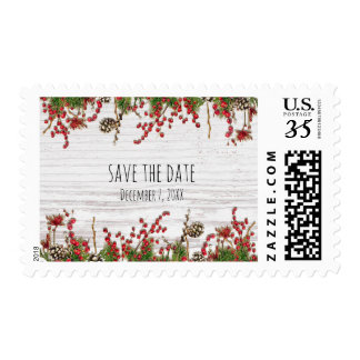 Country Winter Holiday Berries & Pine Cone Wedding Postage