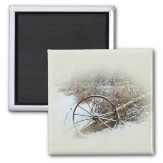 Country Winter 2 Inch Square Magnet