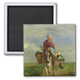 Country Woman Riding a Donkey 2 Inch Square Magnet