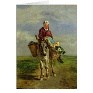 Country Woman Riding a Donkey Card