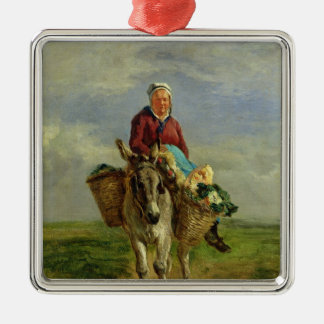 Country Woman Riding a Donkey Metal Ornament