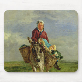 Country Woman Riding a Donkey Mouse Pad