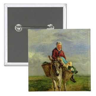 Country Woman Riding a Donkey Pinback Button