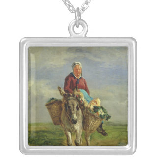 Country Woman Riding a Donkey Silver Plated Necklace