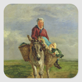 Country Woman Riding a Donkey Square Sticker