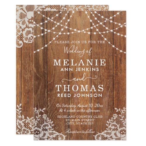 Country Wood and Lace Wedding Invitation, Rustic Invitation