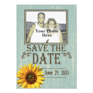 Country Wood and Sunflower Photo Save the Date 5x7 Paper Invitation Card