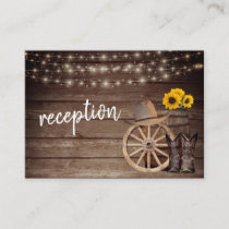 Country Wood Barrel and Sunflowers - Reception Enclosure Card