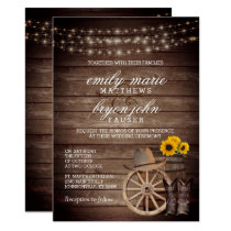 Country Wood Barrel Wedding with Sunflowers Invitation