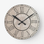 Country Wood Black Roman Numerals Family Name Round Clock