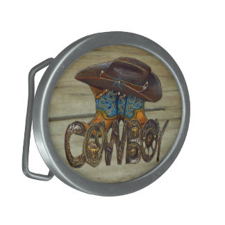 Country Wood Cowboy Belt Buckle