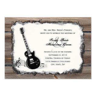 Country Wood Electric Guitar Music Wedding Invite at Zazzle