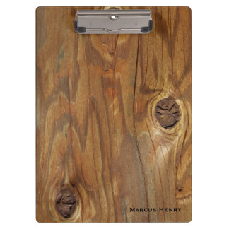 Country Wood (Faux) with Knotholes Personalized Clipboard