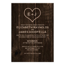 Country Wood Grain Wedding Invitations Personalized Invitations