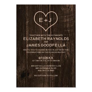 "Country Wood Grain Wedding Invitations 5"" X 7"" Invitation Card"