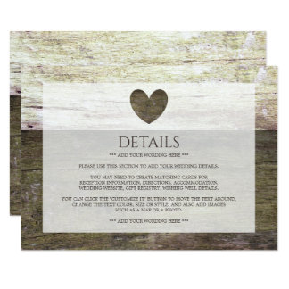 Country Wood Heart Wedding Detail Card