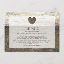 Country Wood Heart Wedding Detail Enclosure Card