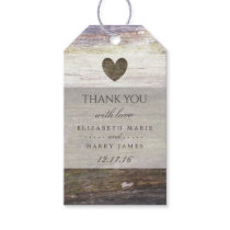Country Wood Heart Wedding Gift Tags