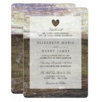 Country Wood Heart Wedding Invitation
