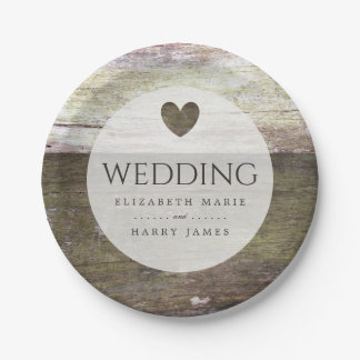 Country Wood Heart Wedding Paper Plate