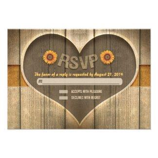 country wood heart wedding rsvp design