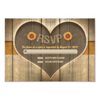 country wood heart wedding rsvp design invite