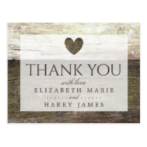 Country Wood Heart Wedding Thank You Postcard