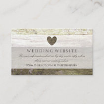 Country Wood Heart Wedding Website Enclosure Card