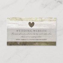 Country Wood Heart Wedding Website Enclosure Card