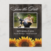 Country Wood Rustic Sunflower Save the Date Cards