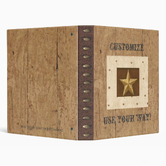 Country Wood/Star/Leather Print Avery Binder