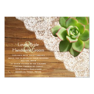 Country Wood Succulent Lace Wedding Invitation