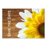 Country Wood Sunflower Daisy save the date Card